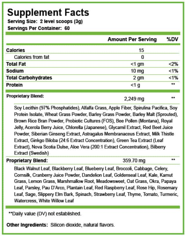 It works greens supplement label